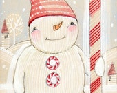Cori Dantini Holiday decor,  folk painting of a snowman- watercolor, 5 x 10 limited edition and archival print by cori dantini