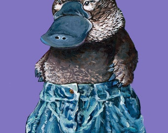 7x10.5 Digital Print of Original Painting Platypus wearing Vintage Jeans Free Shipping in United States
