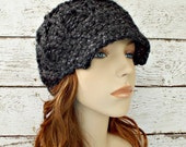 Grey Knit Hat Grey Womens Hat Grey Newsboy Hat - Amsterdam Cable Beanie Constellation Charcoal Grey Hat Grey Beanie