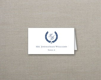 Modern Wreath Tented Wedding Place Cards Deposit to Get Started