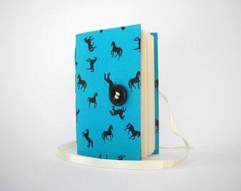 Lined journal notebook Blue journal diary Black horses journal Handmade journals writing journal wrap journal memory book Girls journal