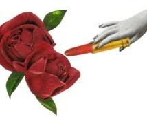 Original Art, Floral Design, Red Rose Wall Art, Original Collage, Lipstick Artwork, Rose Bathroom Decor, Blooming Flower Art, Paper Collage