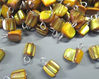 Mother of Pearl Pendant Charms, Golden Yellow MOP Tumbled Drops, Pick Your Amount, C86