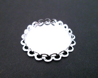 25mm Round Bezel Settings, Silver Plated Double Lace Edge, B13