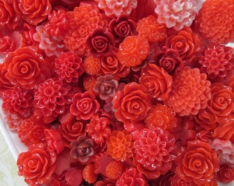25pc. red flower cabochon mix,  cute grab bag of roses, mums etc...