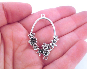 Flower filigree chandelier earring connecters, silver plated, 42x26mm, pick your amount, D28