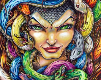 Medusa Greek Mythology colored pencil art print by Bryan Collins