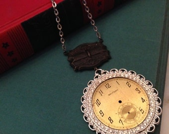 Steampunk Necklace, Clock Part Necklace, Watch Part Necklace, Vintage Reworked Necklace, Steampunk Jewelry
