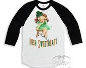"Girl St Patrick Shirt - ""Irish Sweetheart"" - Irish Black White Baseball - Girl Irish Shirt - Toddler Infant - Custom Size Retro Vintage"