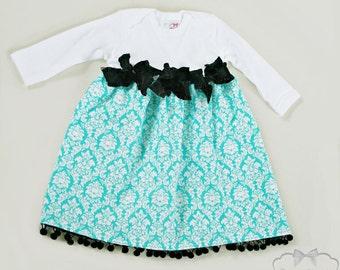Damask Dress Girl Aqua Dress Sea Blue Luxe Holiday Custom Newborn to 4T Christmas Thanksgiving