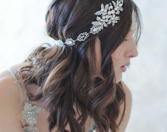Bridal headband, rhinestone details - Majestic crystal headwrap/headband - Style 526 - Ready to Ship