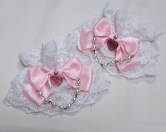 HEART BOW Jewellery Lace Wrist Cuffs