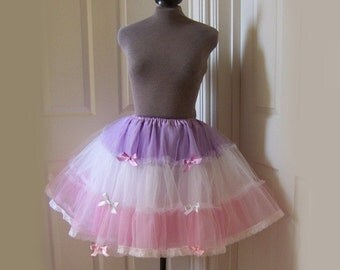 Sweet Lolita PASTEL TIERED PETTICOAT Pastel Stripe Net Lace Skirt