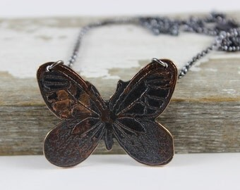 Silhouette Etched Copper Butterfly Necklace, Sterling Silver Chain Layering Necklace