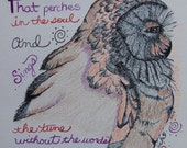 Mixed Media Illustration, Color Pencil Original Owl Drawing, Quote By Emily Dickinson, Wildlife Art, Pen And Ink, Verse, Bird Handmade Print