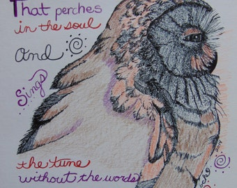 Original Drawing, Owl Color Pencil,  Handmade, Owl Pen N Ink, Owl Quote, Emily Dickinson, Original Pencil Art, Owl Original Art, Owl Bird