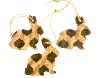 """3 Handmade Printed Burlap Rabbit or Bunny Tags, Gift Tags, Ornament or Easter Tag.. 3"""" or 7.5cm wide."""