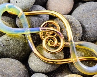 6G | Gold Tipped Lemon | Squids | Gauged Glass Body Jewelry for Stretched Piercings by Glassheart