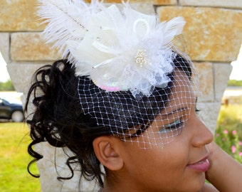 Ivory Lace Flower with Feathers Bridal Mini Hat Birdcage Veil Fascinator Wedding Headpiece Feather Headpiece Bridal Hat