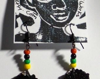 Wooden Afro Puff Fashion Earrings