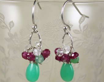 Chrysoprase, Clear Quartz, and Ruby Hammered Loop Sterling Silver Earrings