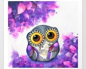 Owl in Purple Blossoms - Purple Nursery Art - Animal Whimsical Woodland Nursery Decor