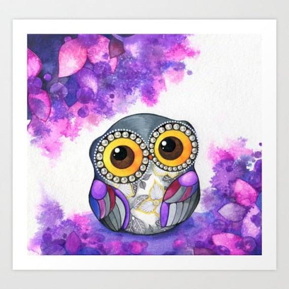 Owl in Purple Blossoms - Purple Nursery Art - Animal Whimsical Woodland Nursery Decor