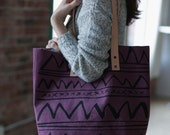 LAST ONE! Burgundy Arches Hand Dyed Tote-Ready to Ship