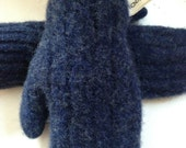 Kids Navy Blue Hand Made Wooly Wooly Striped Mittens Recycled Wool Boys Girls Ages 5-8 Year Old