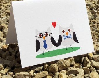 Owl Gay Valentine Wedding Anniversary Card