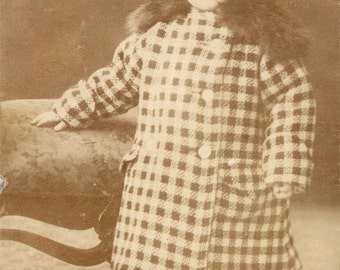 vintage photo 1910 Baby in Herringbone Fur Trim Coat Winter Outfit Alaska attire