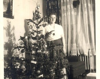 vintage photo 1934 Lady Stands behind Christmas Tree in Living Room