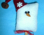 Folk Art Ice Cream Bar Snowman Ornament