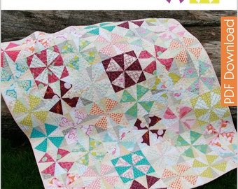 Modern Quilt Pattern - Whimsical Windmills - PDF