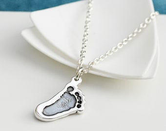 Personalized Silver Cutout Footprint Pendant - baby print jewellery, mother's day gift, baby keepsake, mom jewelery