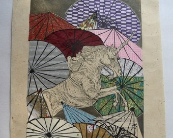 Unicorn Amongst Umbrellas XXVI- Multimedia - Lino Block Print Unicorn with Parasols on Collaged Japanese Papers & Ephemera