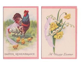 2 Vintage Easter Cards - Unused - So Pretty circa 1930s