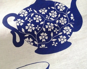 SALE Linen Tea Towel - Ocean Teapot