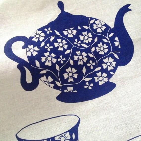 SALE Linen Tea Towel - Ocean Teapot