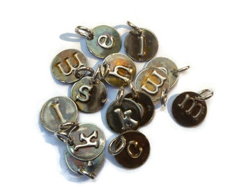 Sterling Silver Initial Charms Oxidized