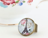 Eiffel Tower Ring - Statement, Ring, Paris Jewelry,  City of Paris, Gift For Traveler, France, Gift For Woman, Valentines Gift