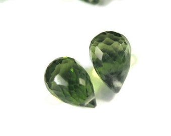 Two Peridot Beads, Matching Peridot Briolettes, Set of 2 Natural Gemstones, Matched Pair, 8x6mm - 11x7mm (B-Pe1)