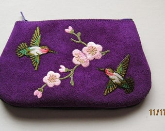 HUMMINGBIRDS and FLOWERS  Coin Purse on  Purple Leather Suede
