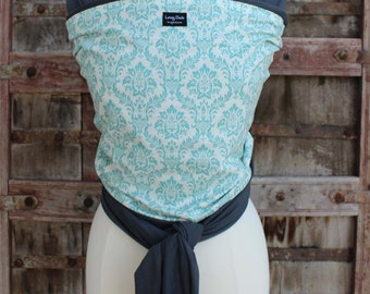SUPER LIGHTWEIGHT Baby Sling Wrap Carrier-ORGANIC BAMBoO-Teal Damask on Gray-One Size Fits All-Newborn to Toddler-DvD Included