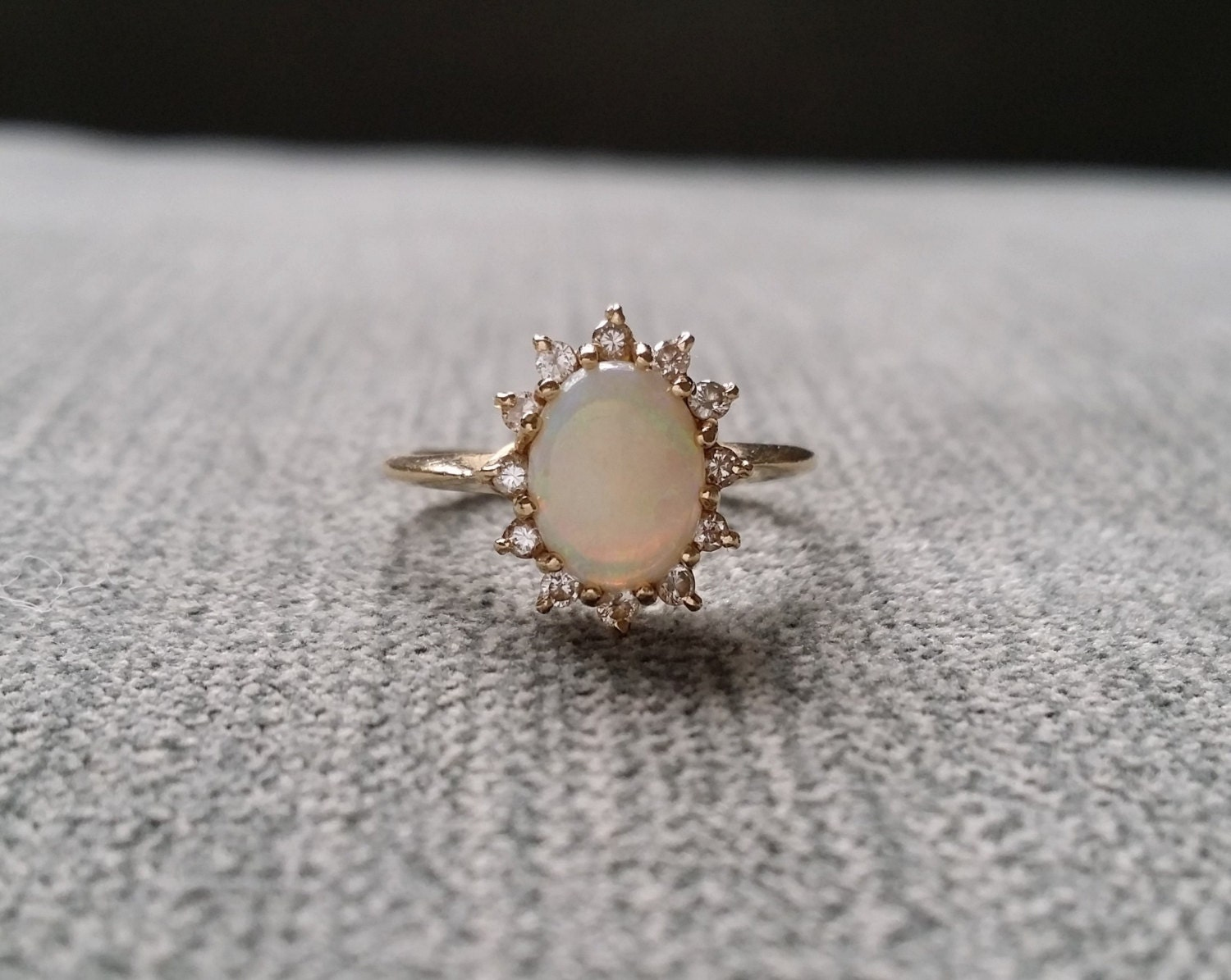 Antique Opal Diamond Engagement Ring Edwardian Victorian
