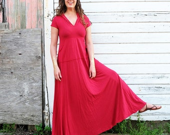 ORGANIC Howrah Hooded Kangaroo Pocket Long Dress ( light hemp and organic cotton knit ) - organic dress