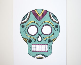 sugar skull art print silkscreen teal