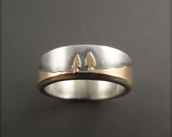 Rose Gold Conifer Couple Sterling Silver Handmade Wedding Ring
