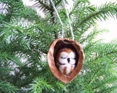 Needle Felted Owl in Walnut Heirloom Christmas Ornament-Saw Whet Owl