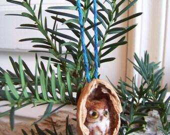 Needle Felted Owl in Walnut Heirloom Ornament-Red Screech Owl